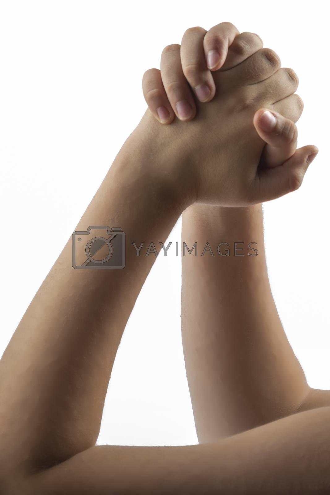 Young hands make a embracing hands  gesture