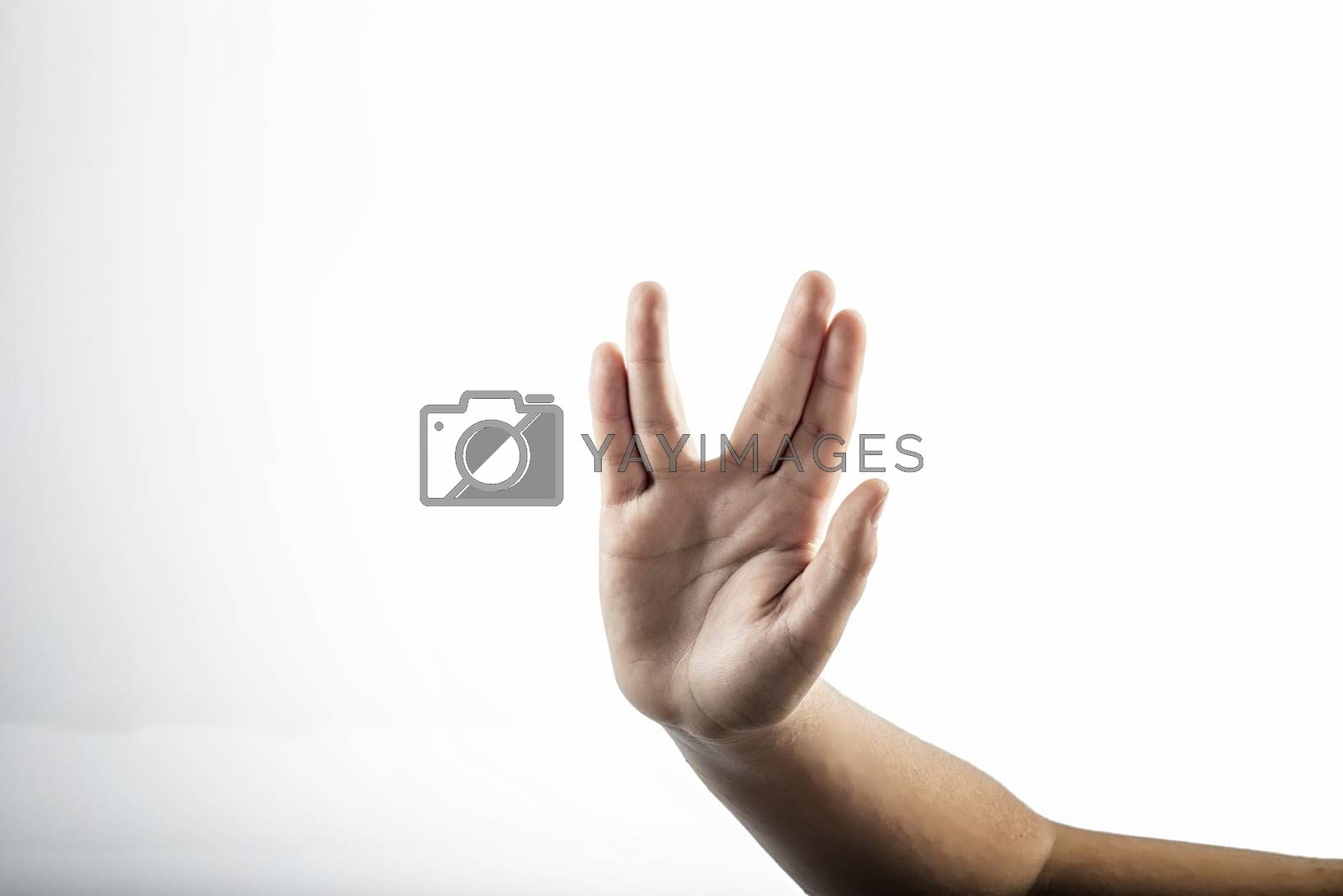 Young hands make Vulcan Salute: Long Live and Prosper