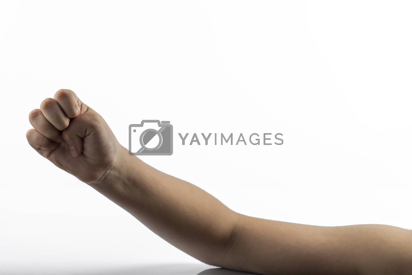 Young hand make fist gesture