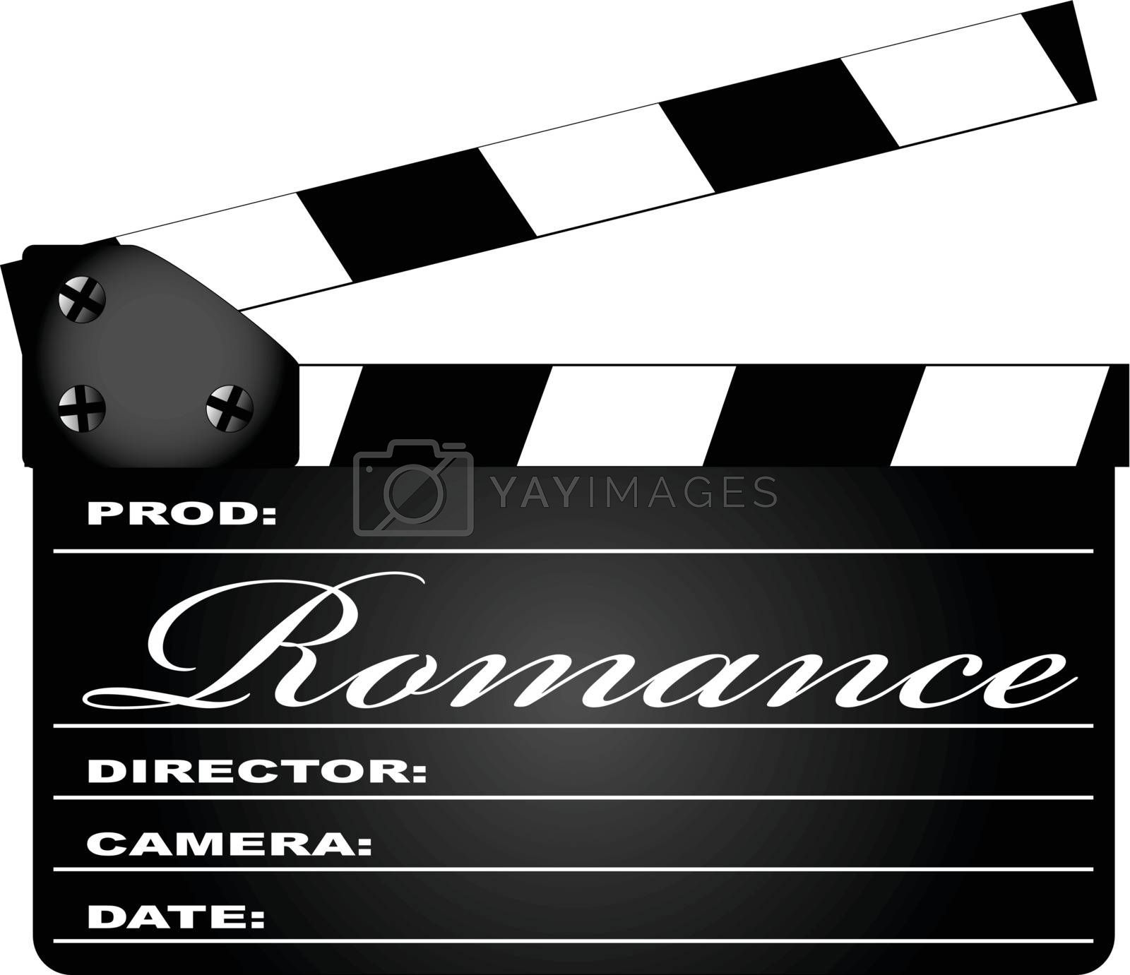 A typical movie clapperboard with the legend ROMANCE isolated on white.