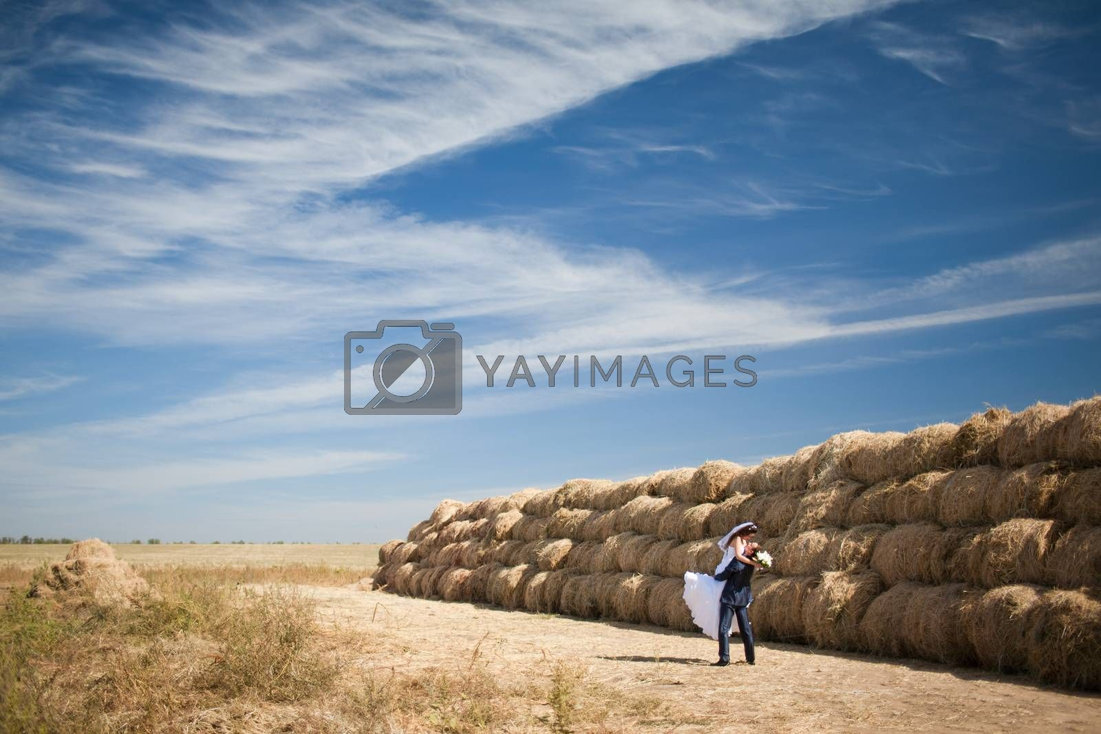 couple in the field with hay