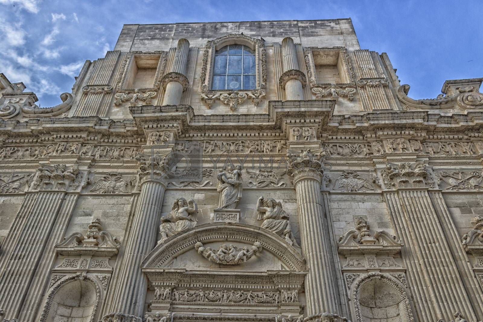 The Church of St. Mary of Constantinople and Saint Angel in the old town of Lecce in the southern of Italy (17th century)