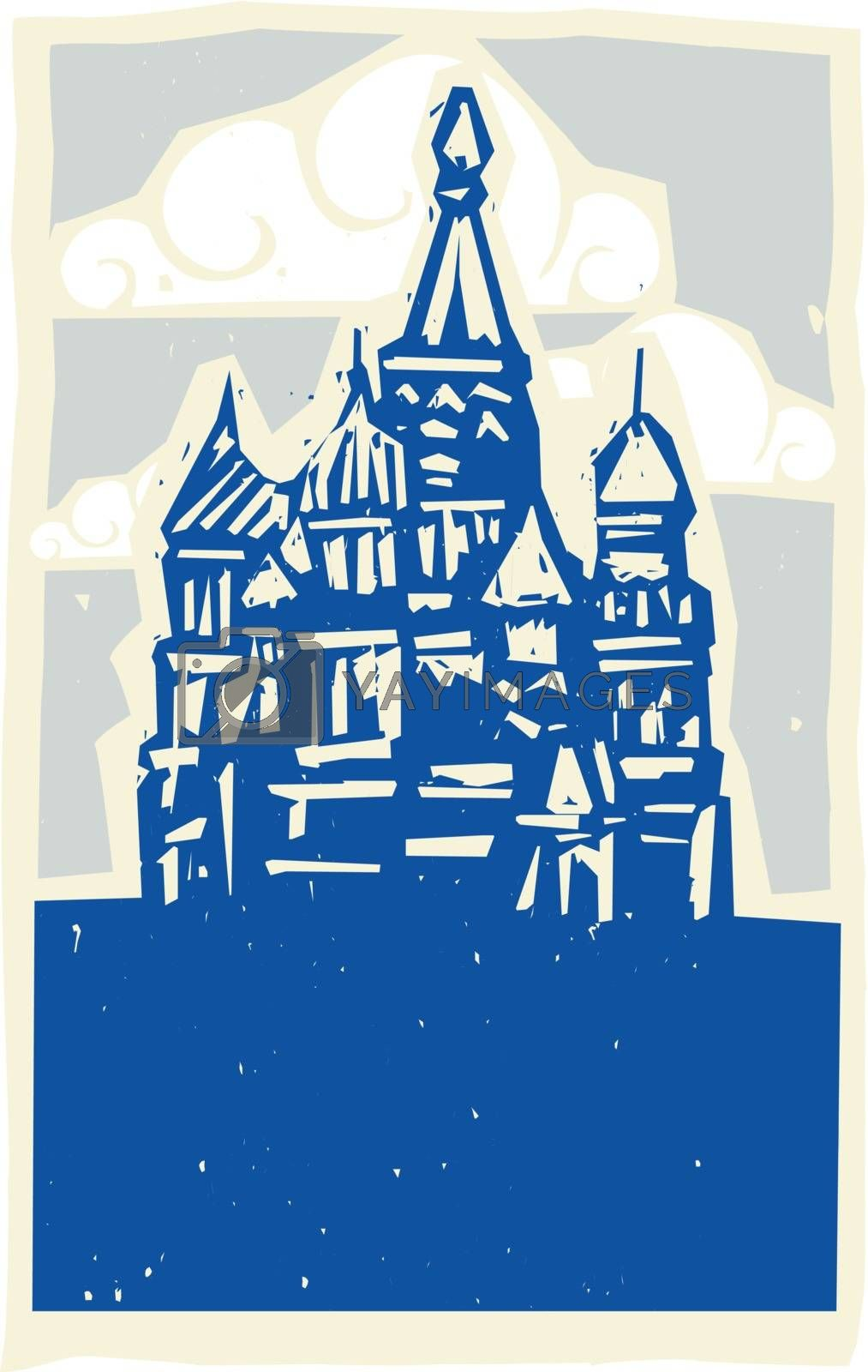Woodcut style Soviet Design type illustration of the Kremlin in Moscow
