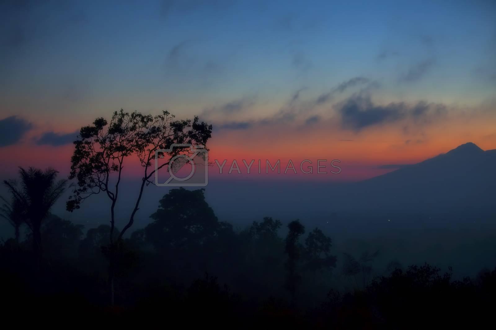 Misty sunset over the lush Balinese landscape