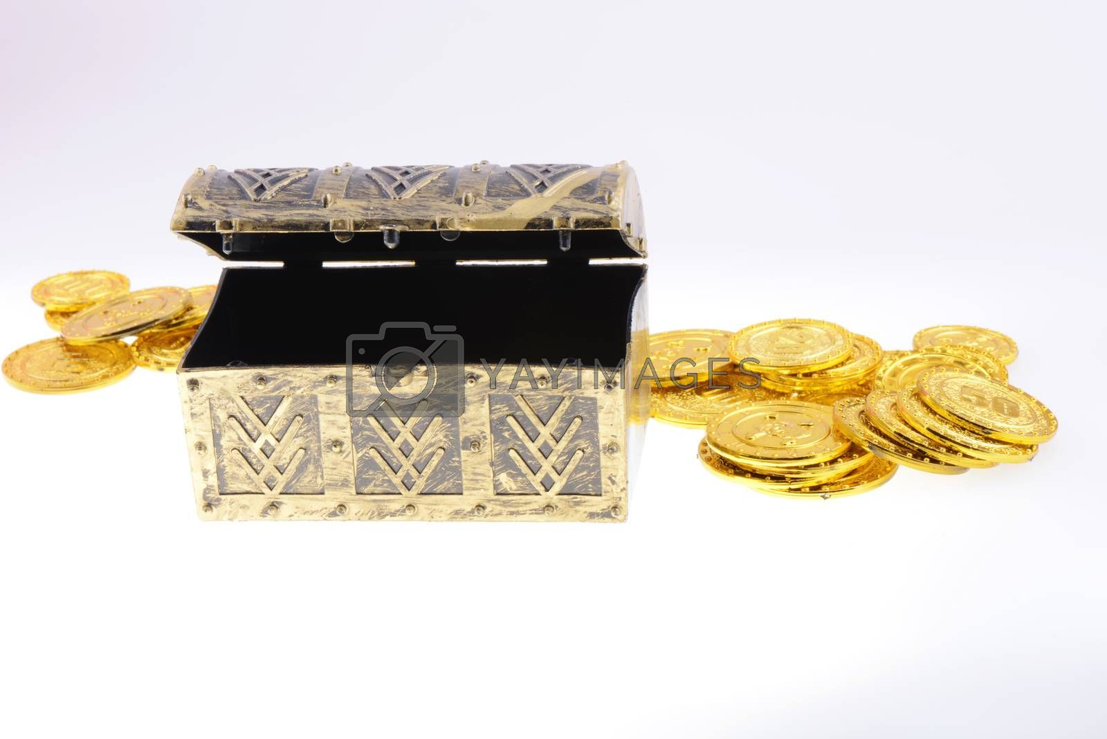 Treasure box with gold coins on a white background