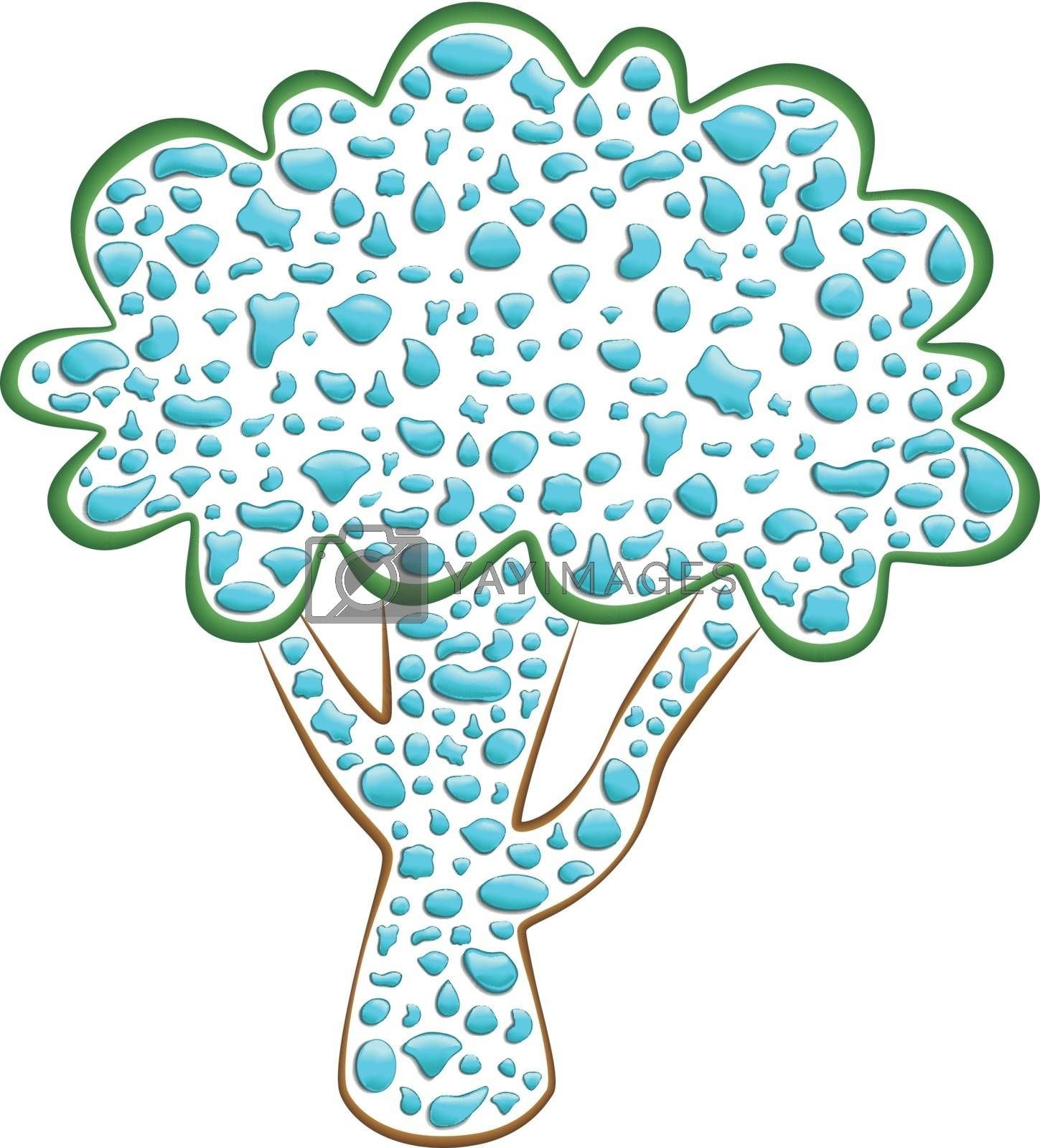 illustration of a tree with water droplets created