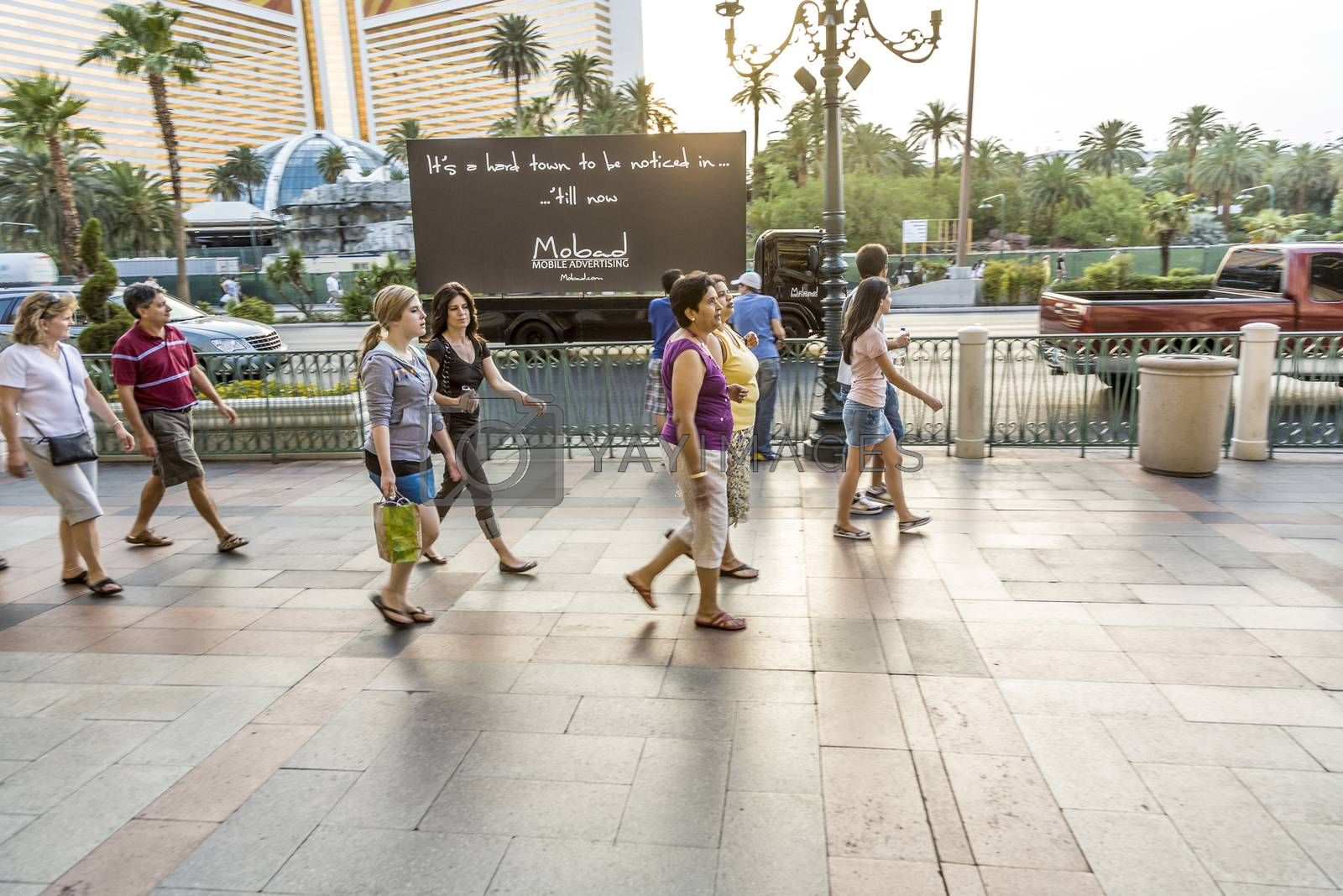 LAS VEGAS, NEVADA, USA - JULY 17, 2008: Pedestrians in downtown  in Las Vegas, Nevada. The population of Las Vegas about 600,000 people