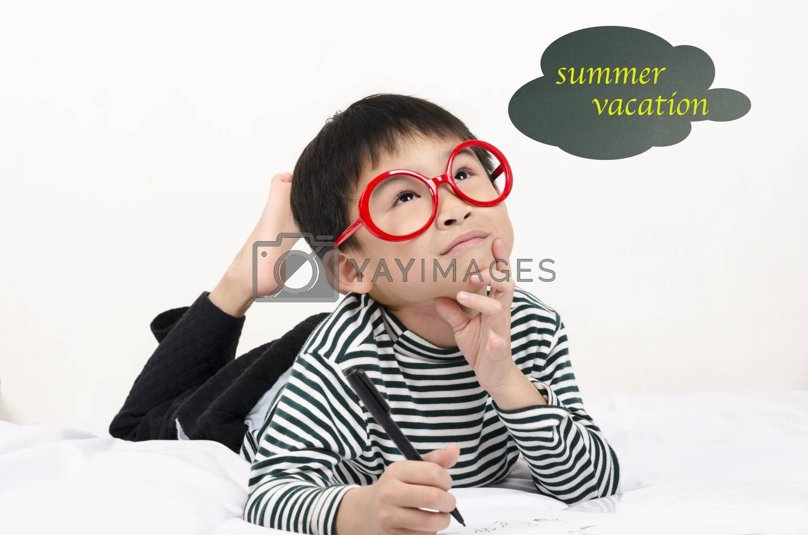 Royalty free image of Hard study student thinking summer vacation by FrankyLiu