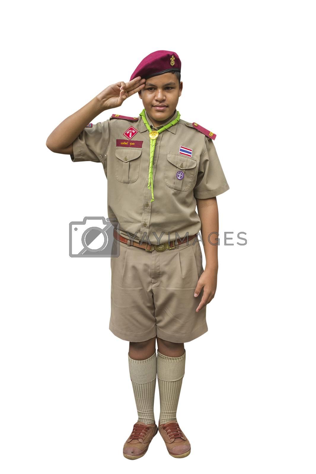 Thai boyscout isolated on white background