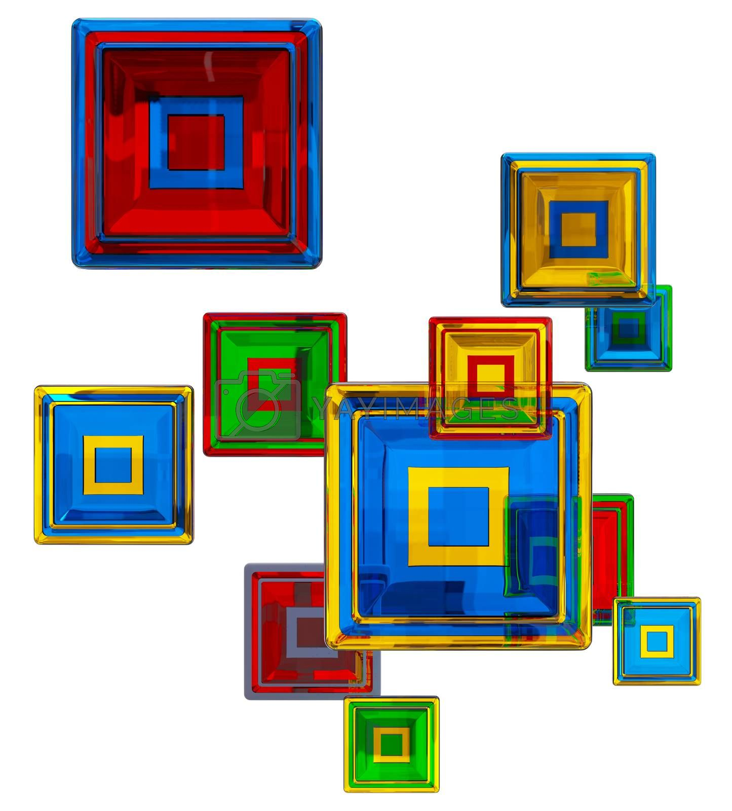 colorful glass cubes at four levels as abstract background