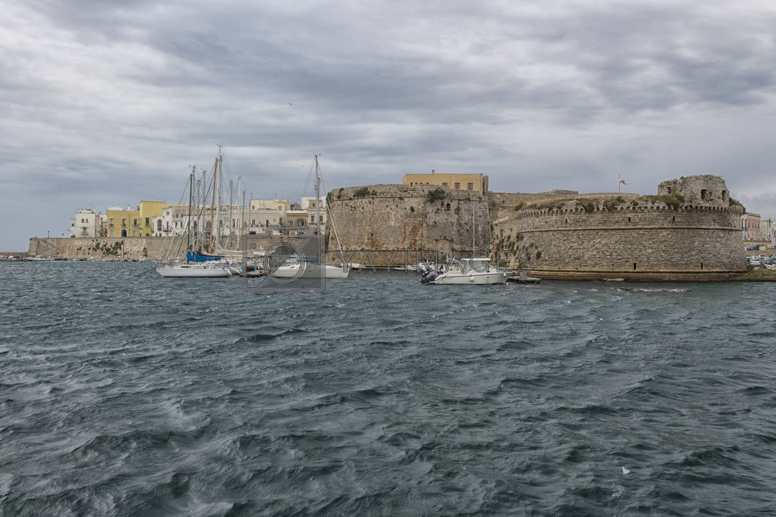 Rivelino tower in the Castle   in the old town of Gallipoli (Le)) in the southern of Italy