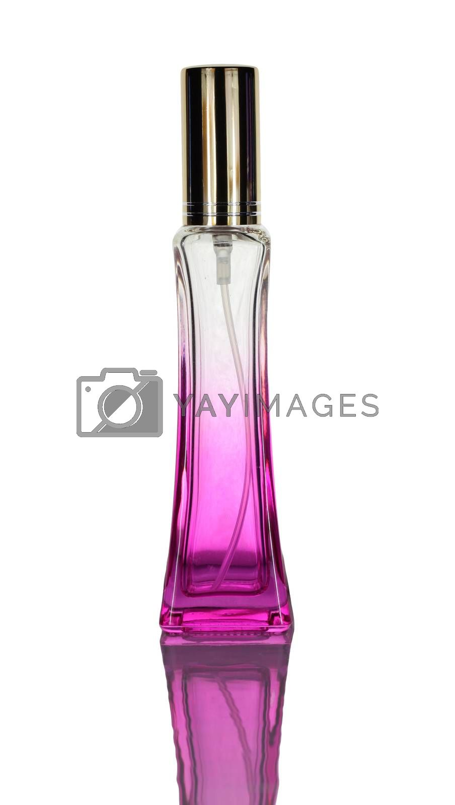 New perfume bottles that are not in use isolated on white background.