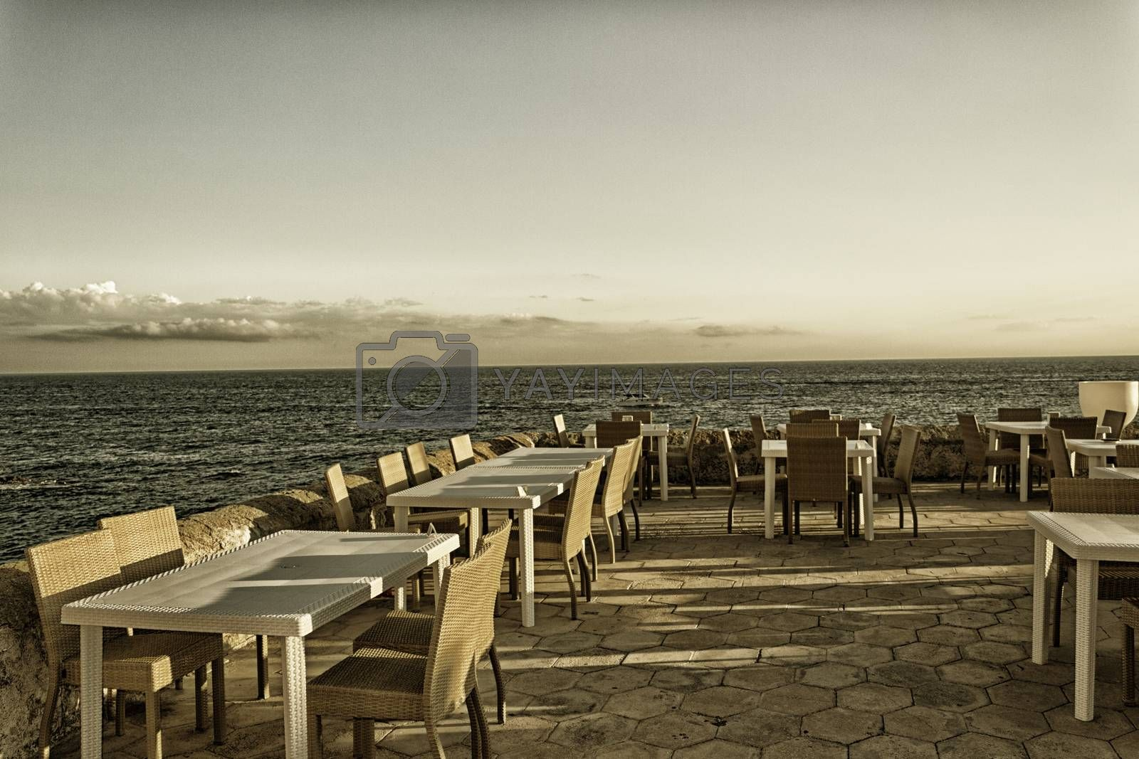Restaurant on La Puritate (that is the purity) view: the beach of the old town of Gallipoli (Le) in the southern of Italy