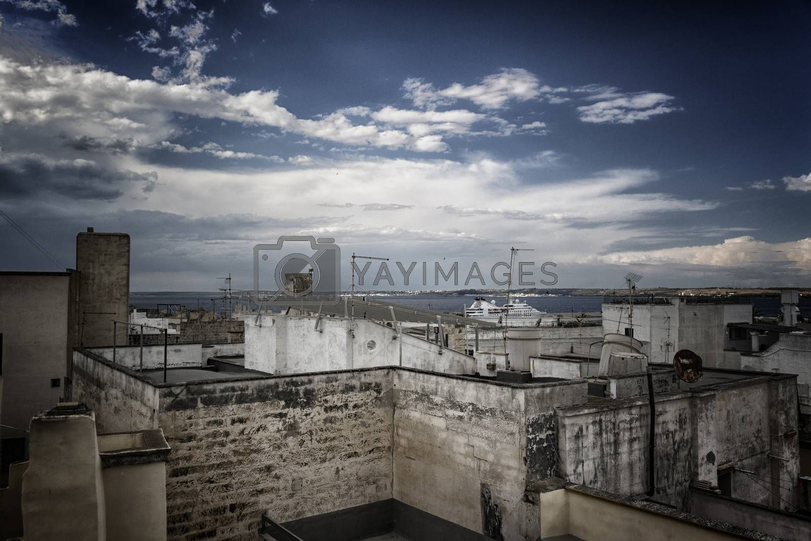 View from the roof of Doxi Stracca Fontana Palace about 1760 A.D. in the old town of Gallipoli (Le)) in the southern Italy
