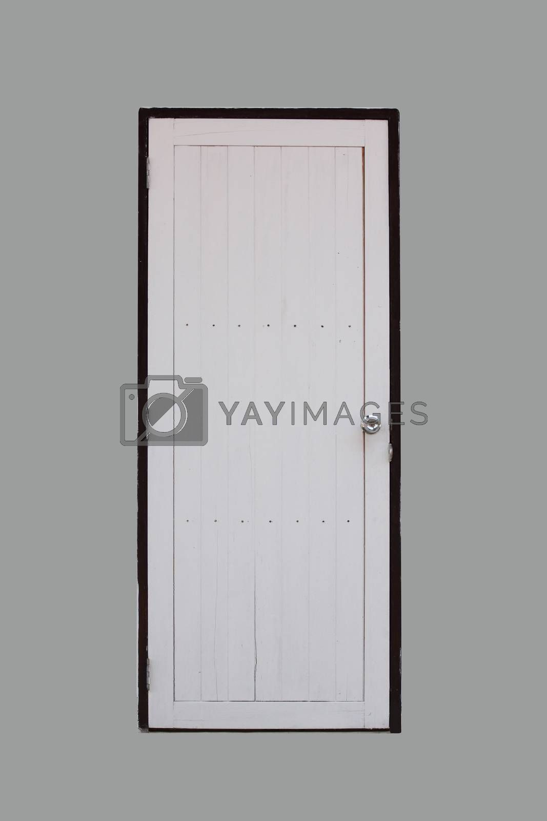 White wooden door on gray background.