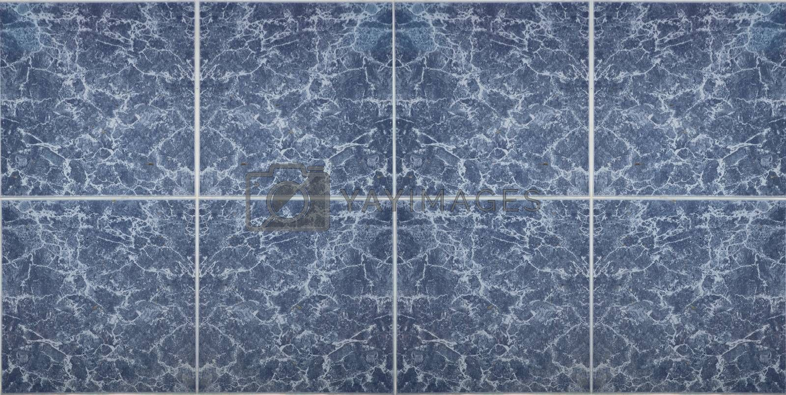 Blue patterned floor tiles for the interior.