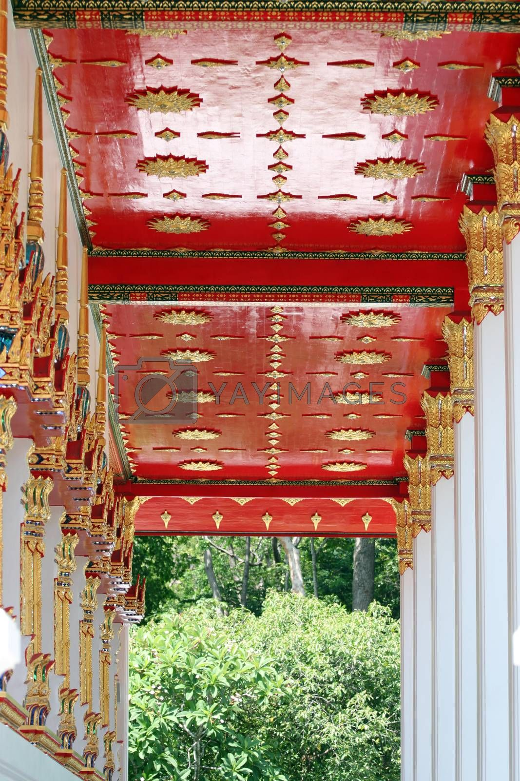 Art pattern of the interior in Thailand temple.