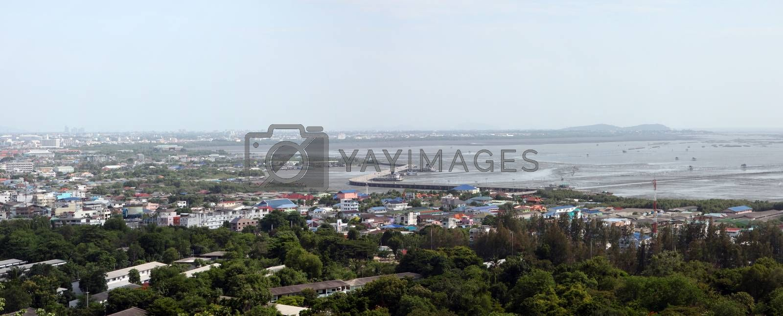 Landscape Thailand of high angle at the location on chonburi city.