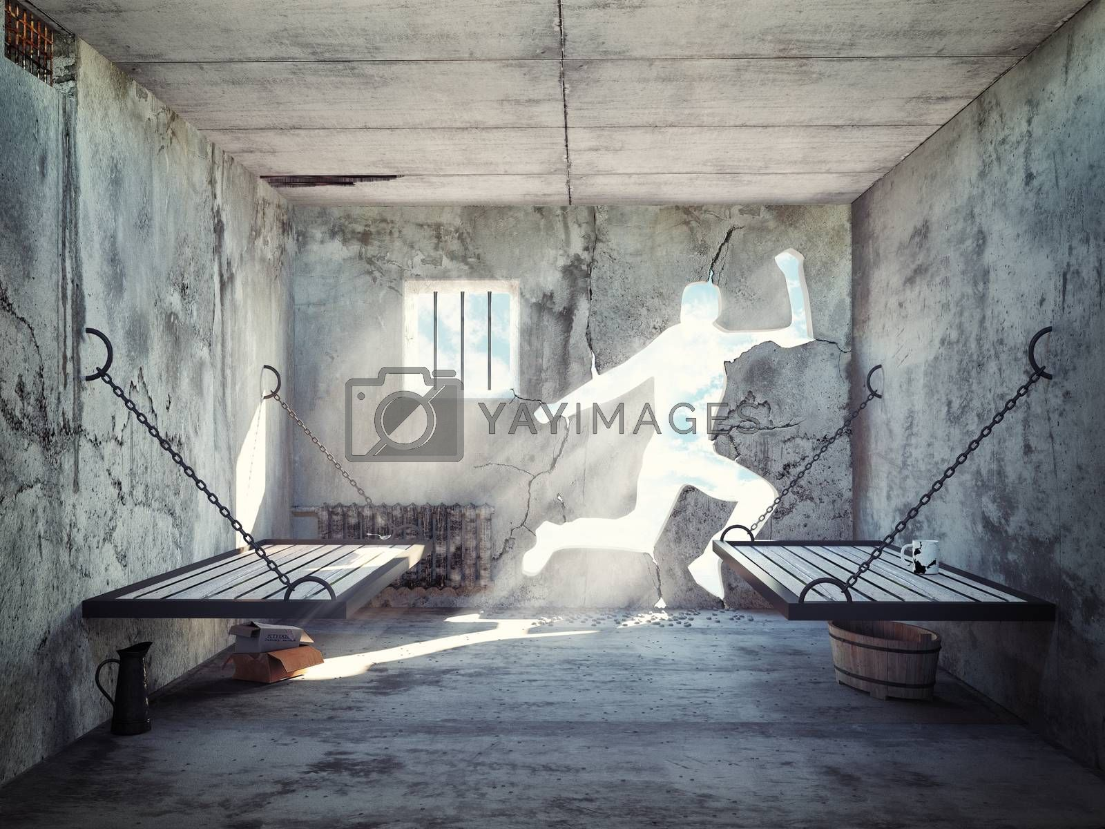 escape from a prison cell. 3d concept