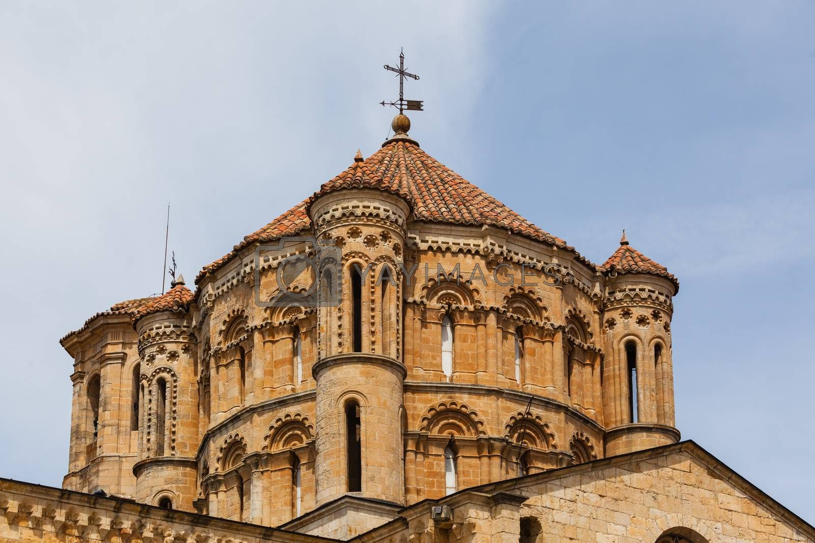 Closeup view of great romanesque dome in the Collegiate Church in the town of Toro , Province of Zamora , Spain