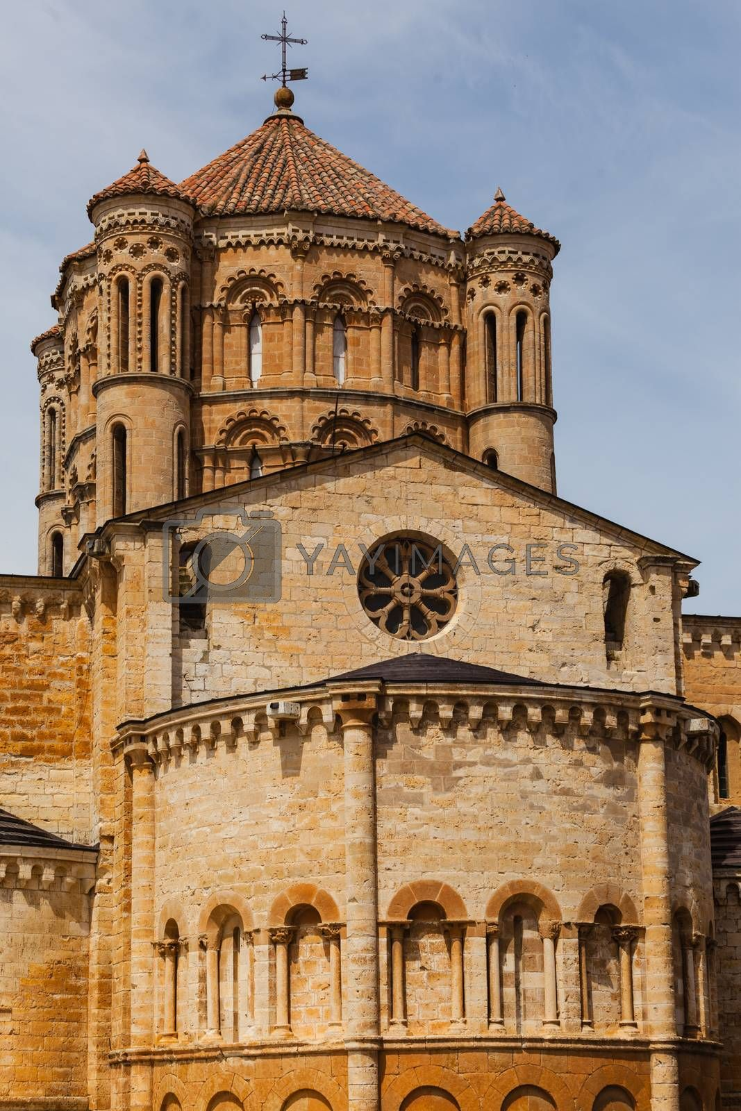 View of the abse and dome in the romanesque Collegiate Church of Toro in Zamora , Spain