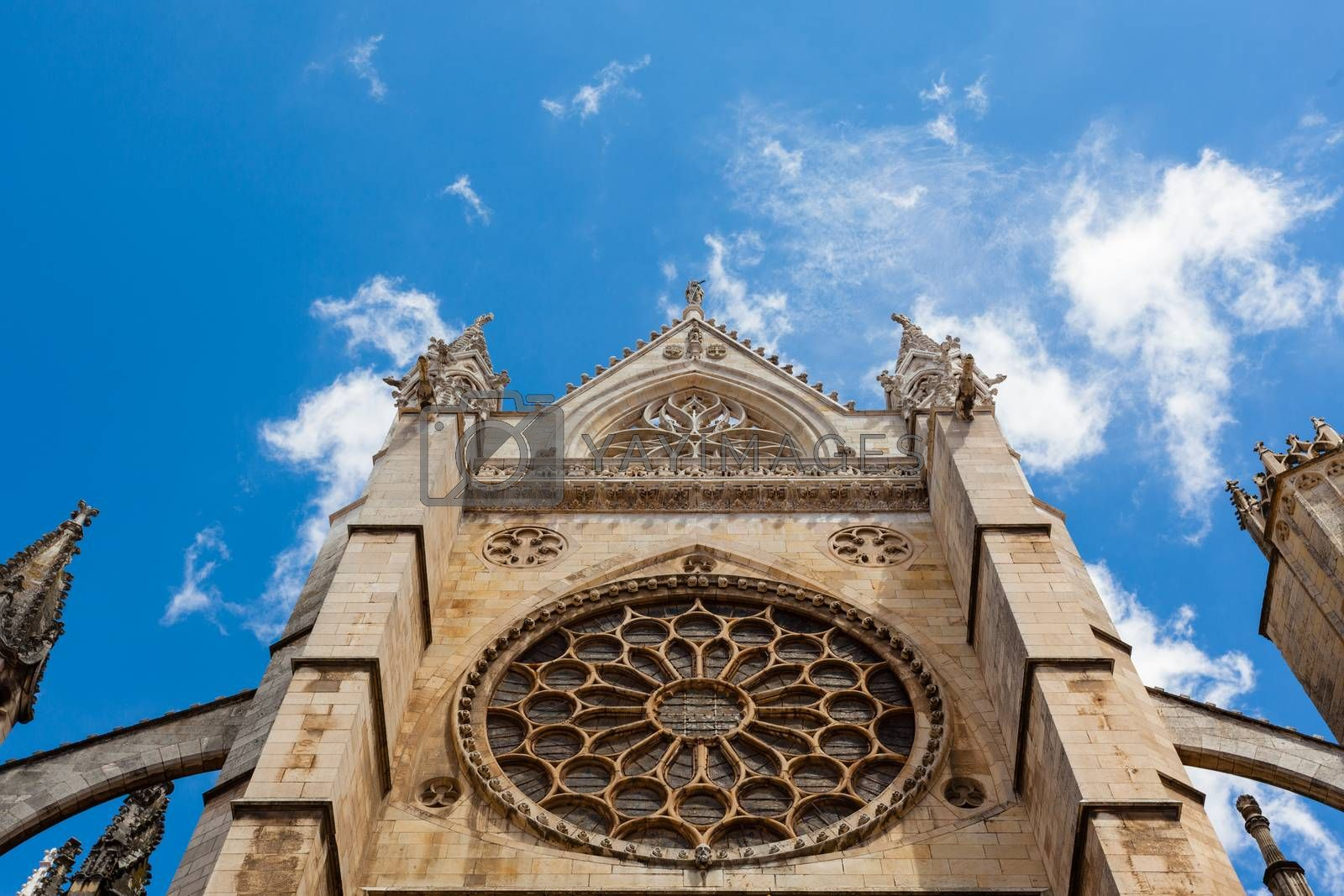 Rose window view in the gothic cathedral of Leon in Spain