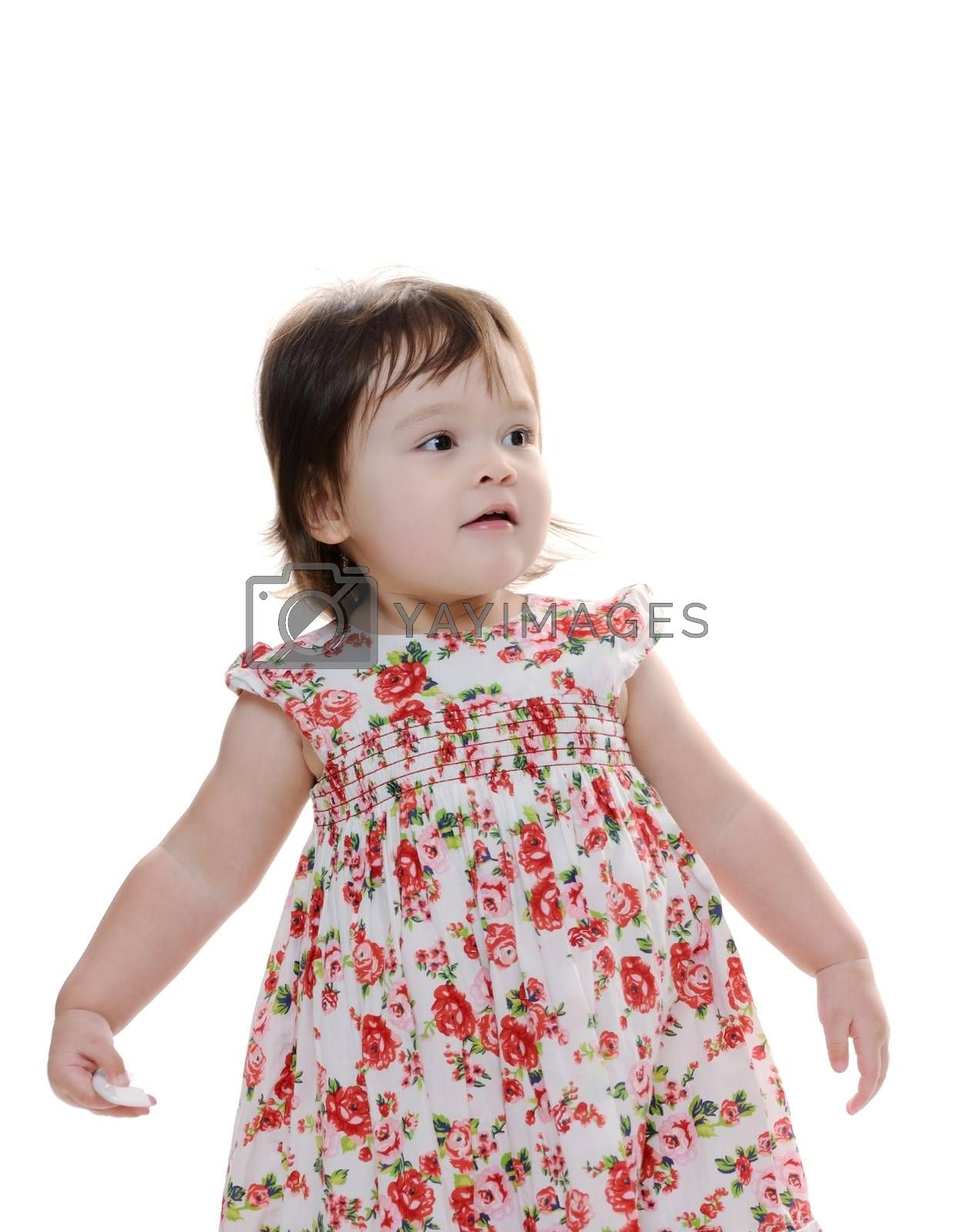 Happy young infant girl standing up
