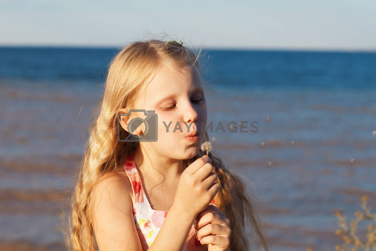 gilrl blowing on dandelion on the seashore