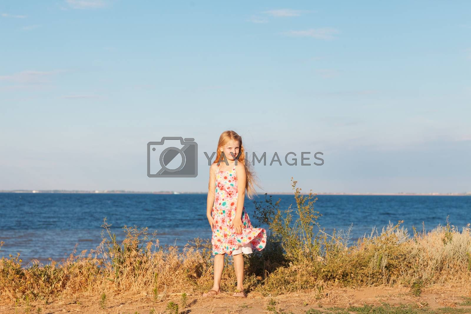 a girl on the seashore