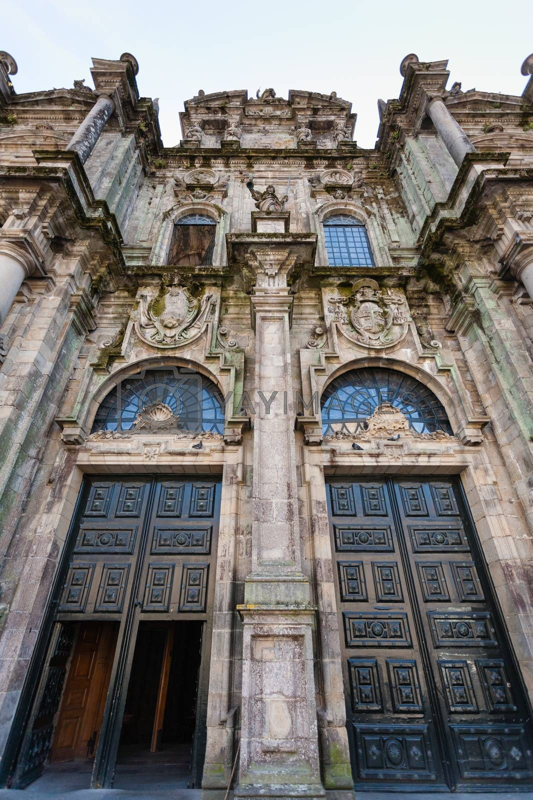 Full view of the north double door entrance to the Cathedral of Santiago de Compostela ,Spain