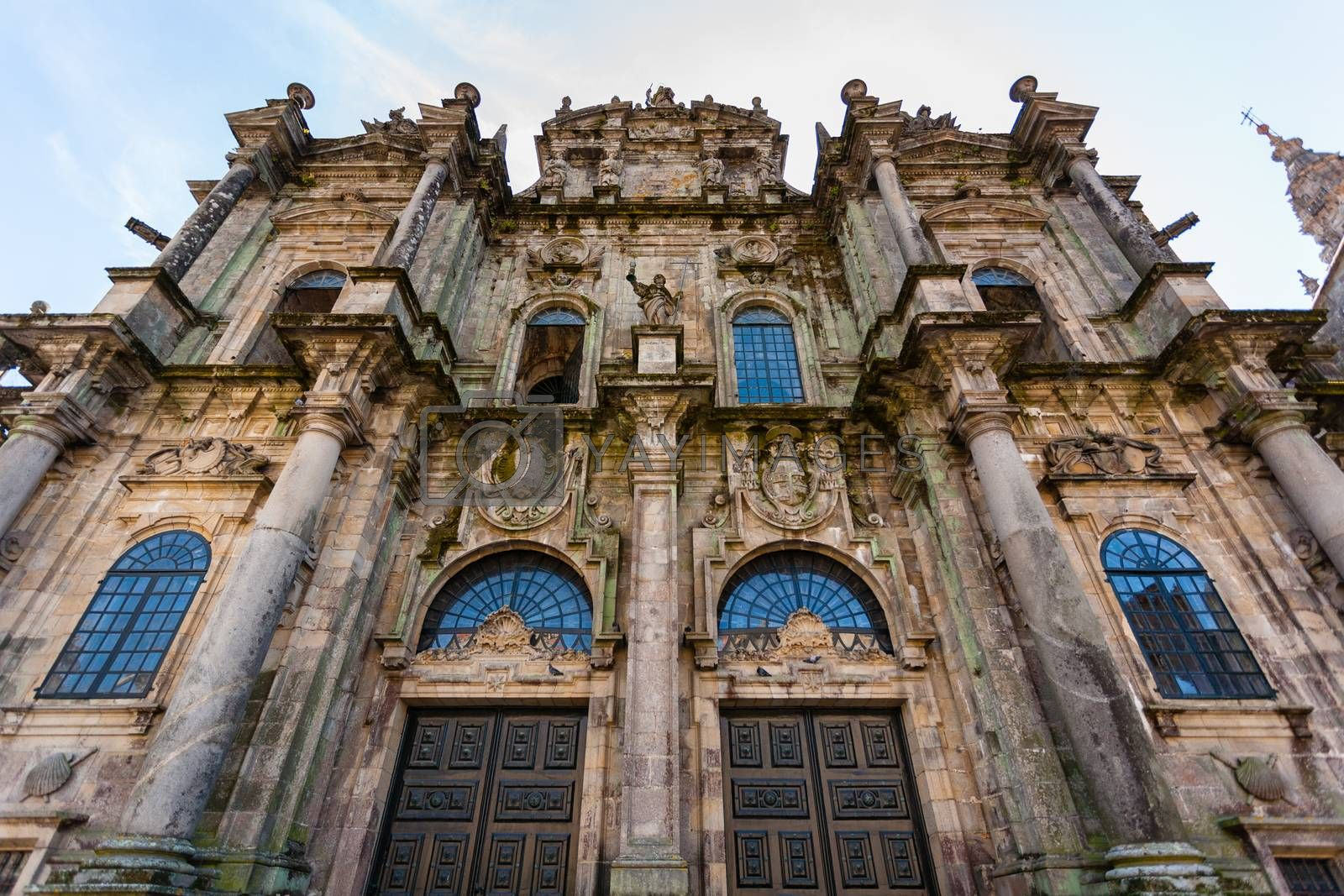 Wide closeup view of the north door entrance to the Cathedral of Santiago de Compostela ,Spain