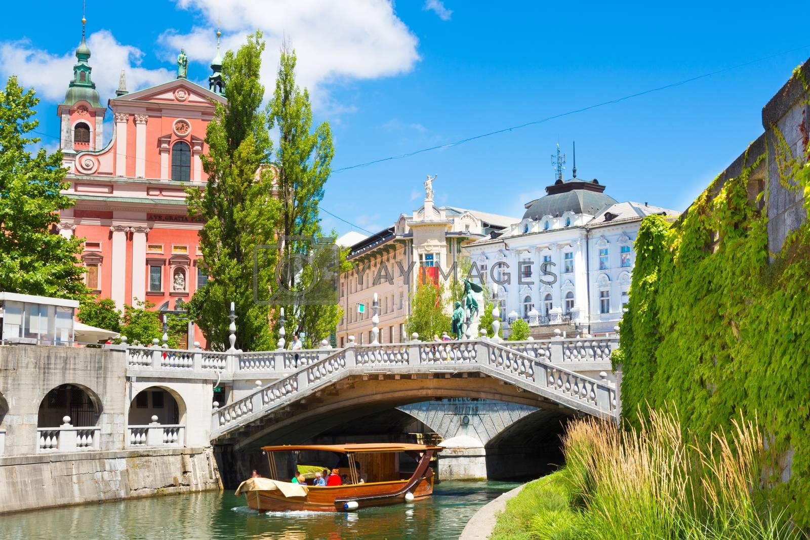 Romantic medieval Ljubljana's city center, capital of Slovenia, Europe.