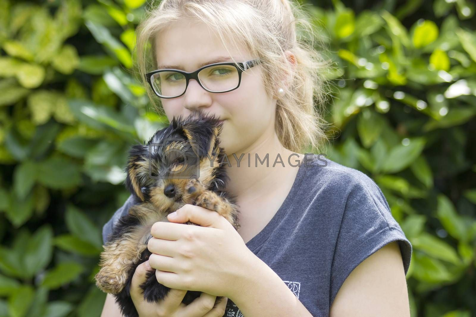 young girl and her dog