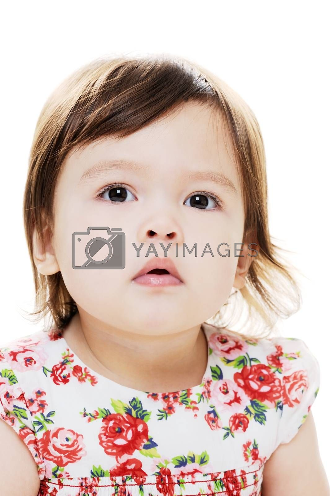Closeup portrait of young mixed race girl