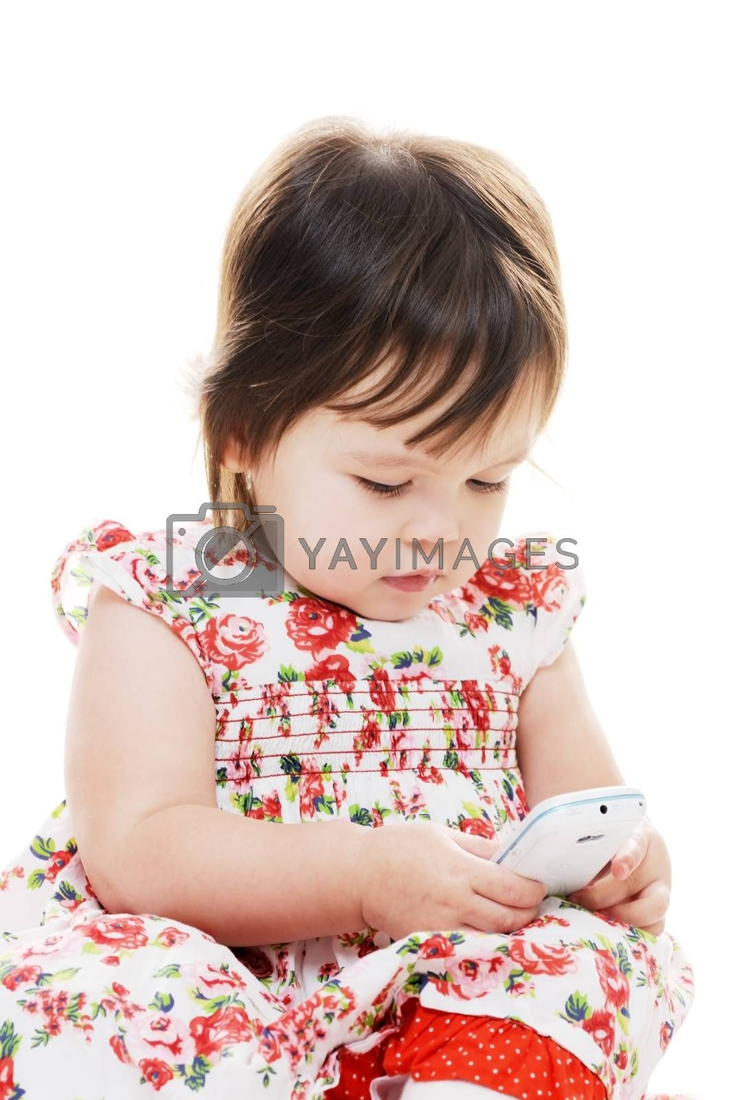 Young female girl texting on mobile phone