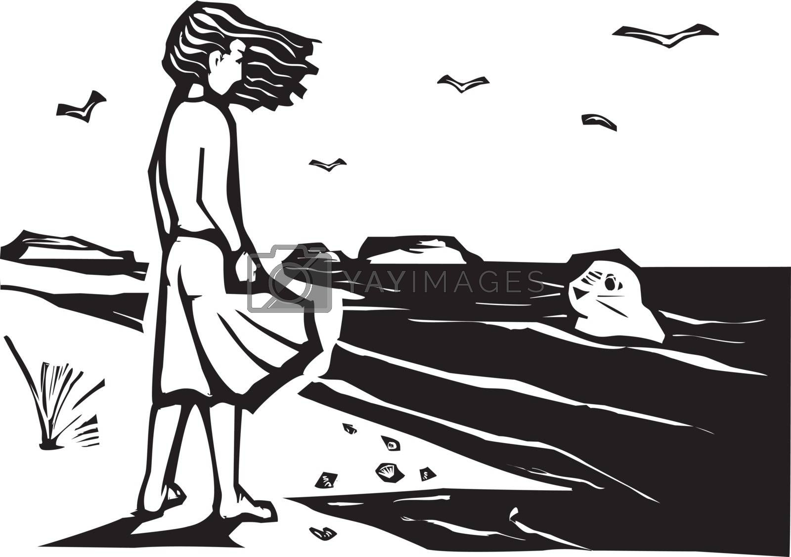 Woodcut style image of a girl on a beach watching a harbor seal in the waves.