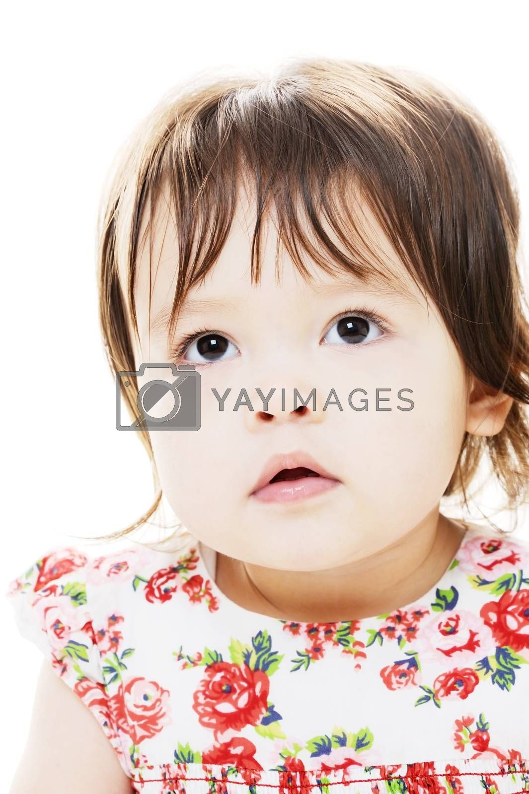 Mixed race little girl closeup portrait