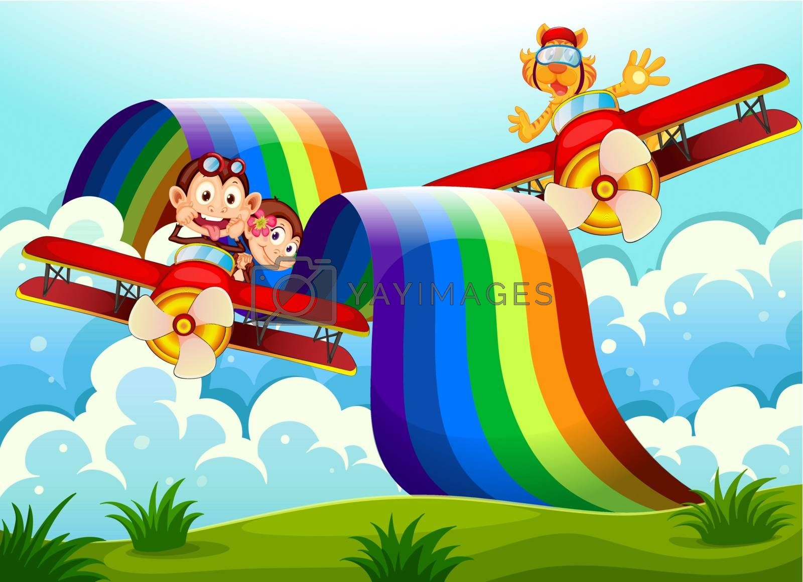 Illustration of the playful animals near the rainbow above the hills