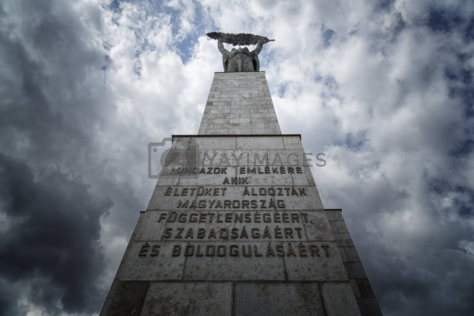 The  Freedom Statue on the gellert hill in Budapest in Hungary