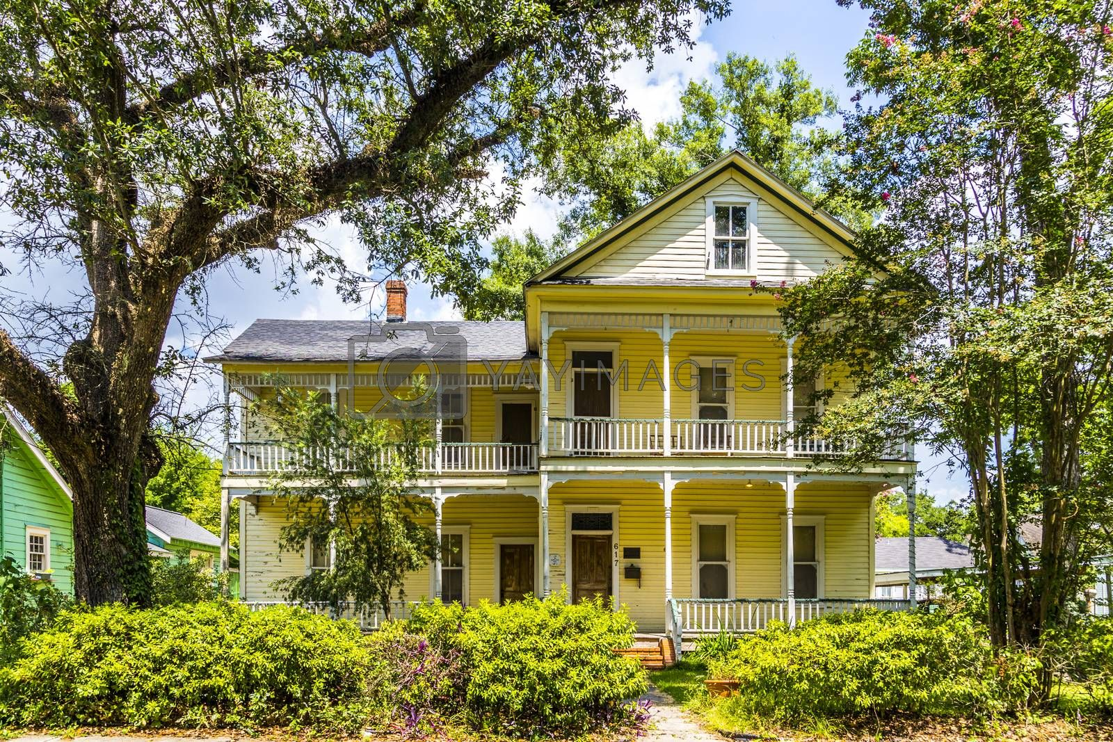 LAKE CHARLES, USA - JULY 12, 2013: visit the old farm houses at the Carpentier district in Lake Charles, USA. At the District one can view dozens of homes constructed between 1885 and 1920.