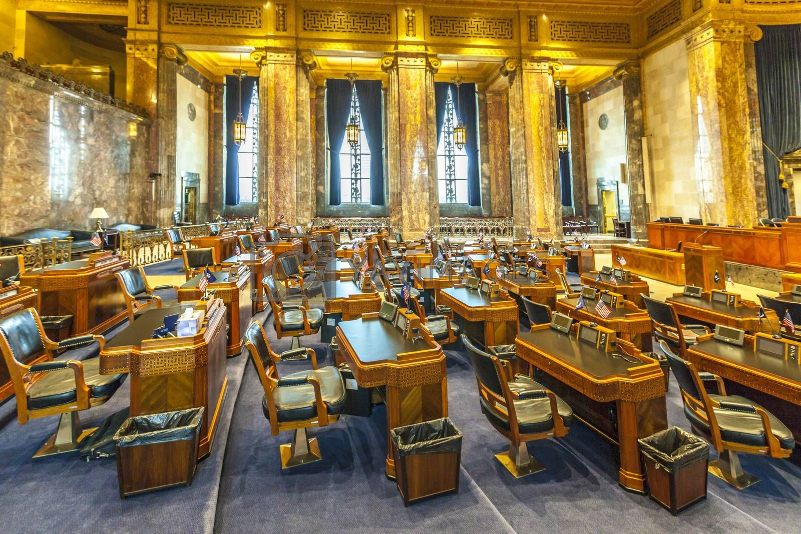 Baton Rouge, USA - July 13:  the house of chambers in Louisiana State Capitol on July 13,2013 in Baton Rouge, USA. The New State Capitol was build in 1930 and is still in use by Louisianan politician.