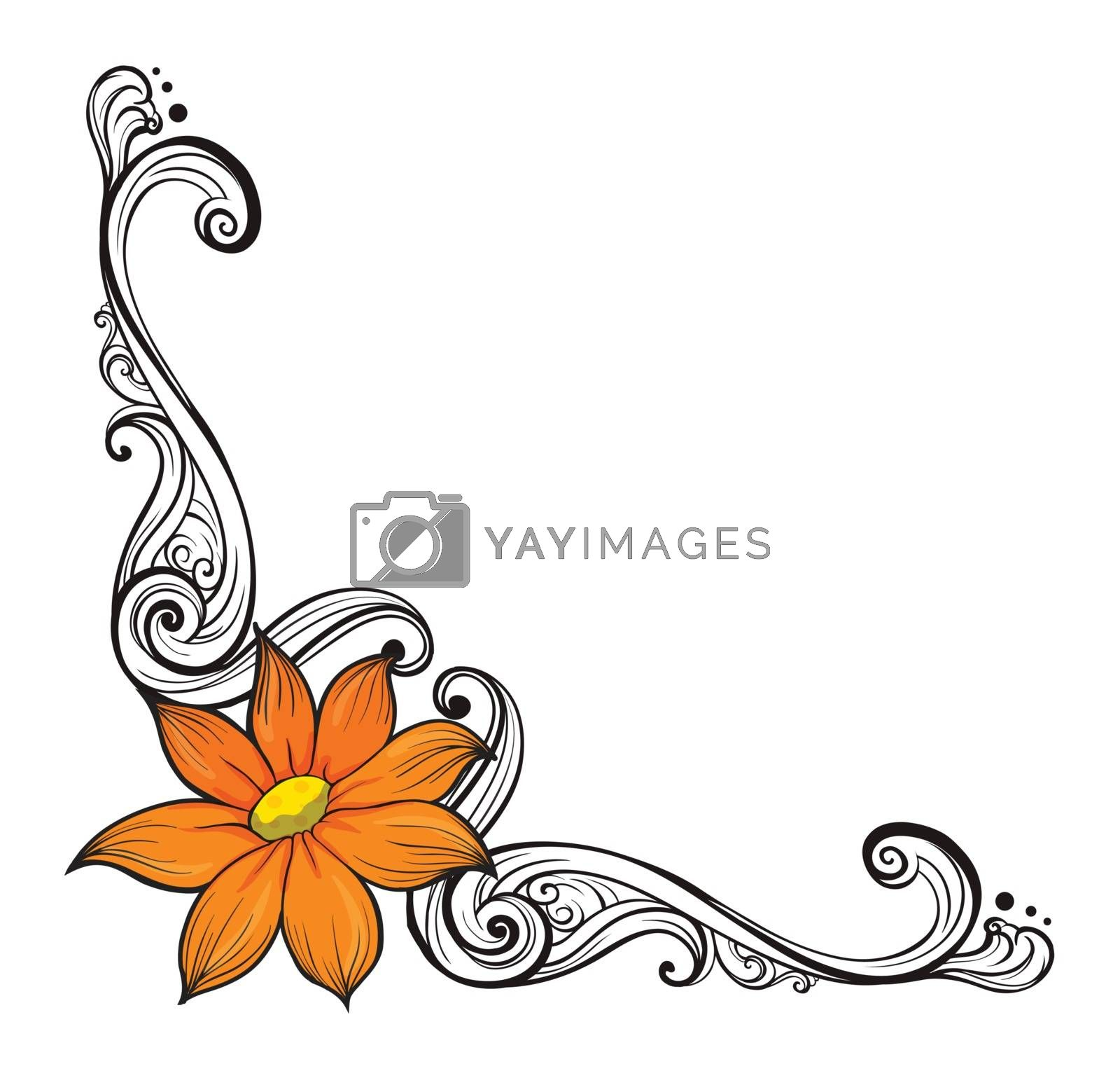 Illustration of a border with an orange flower on a white background