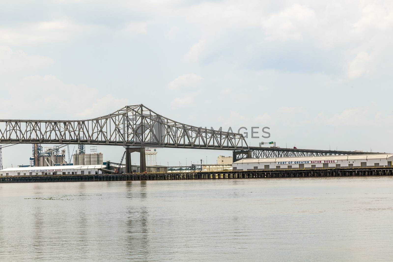 BATON ROUGE - JULY 13, 2013: Mississippi River Bridge in Baton Rouge, USA. The Horace Wilkinson Bridge is a cantilever bridge carrying Interstate 10 in Louisiana across the Mississippi River. It is the highest bridge on the Missisippi River.