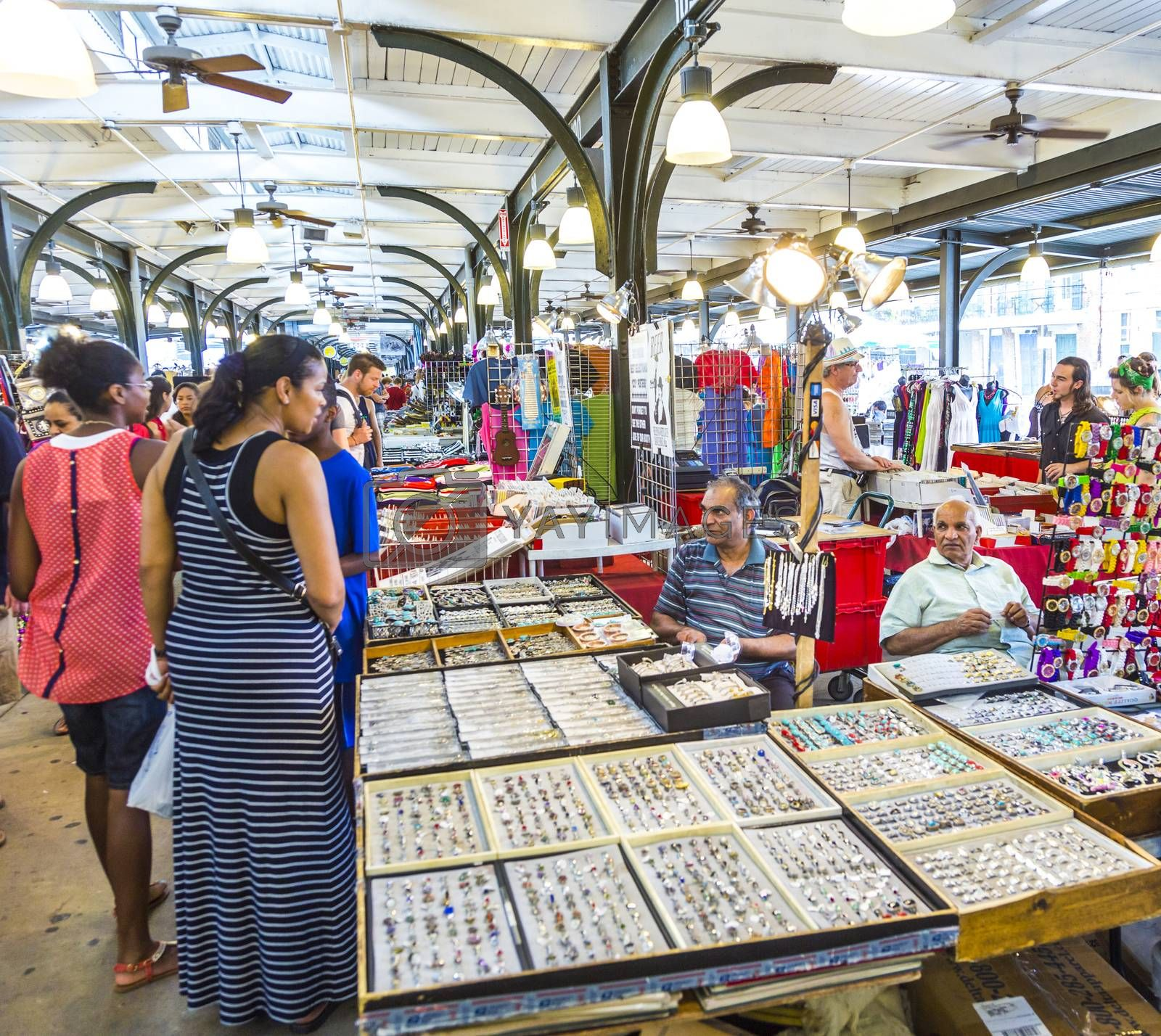 NEW ORLEANS, USA - JULY 15, 2013: The French Market on Decatur Street is a popular tourist attraction in the New Orleans French Quarter district in New Orleans, USA.
