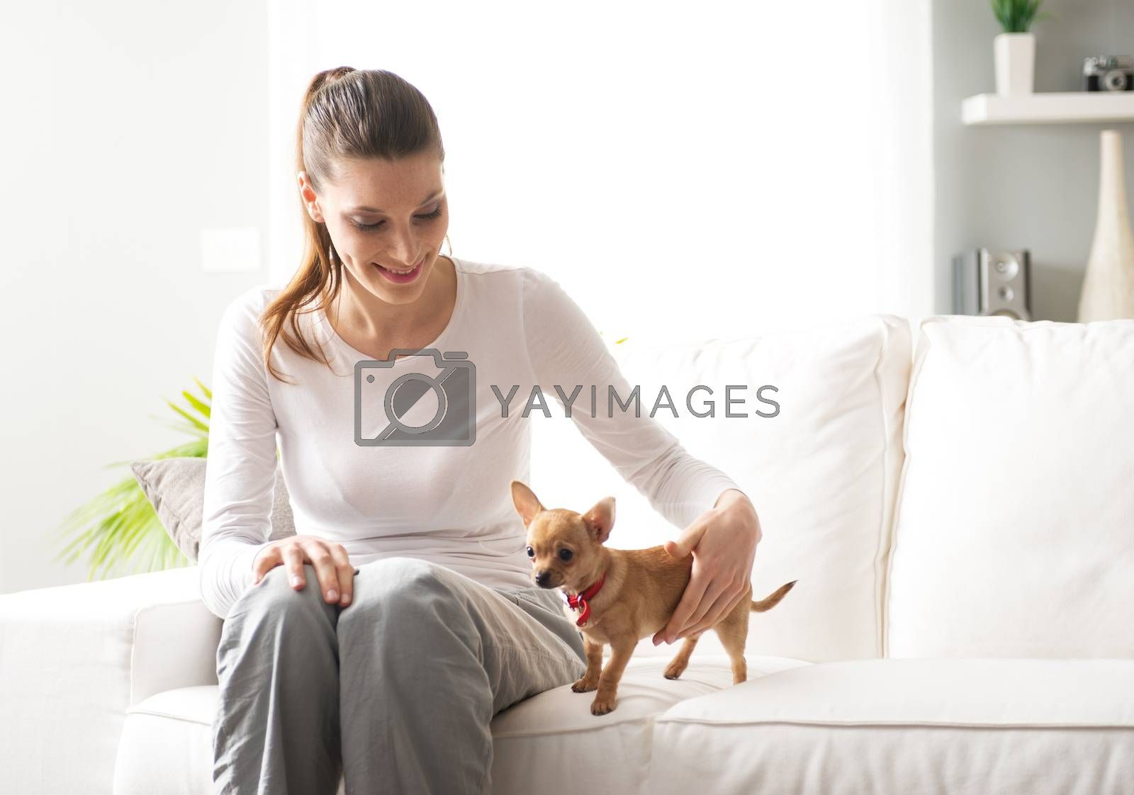 Smiling woman with dog sitting on sofa in the living room.