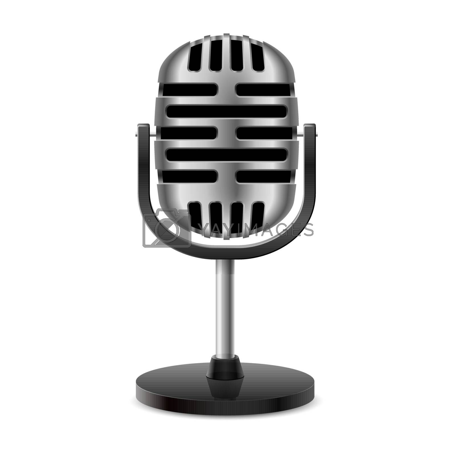 The silver metal vintage retro isolated microphone.