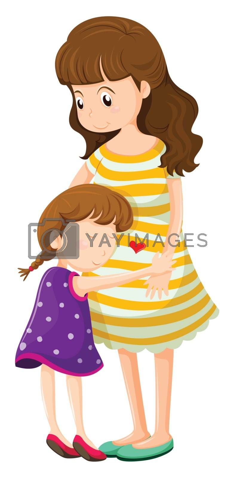 Illustration of a daughter hugging her mother on a white background