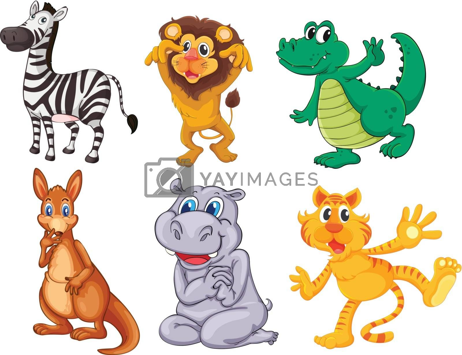Illustration of the wild and scary animals on a white background