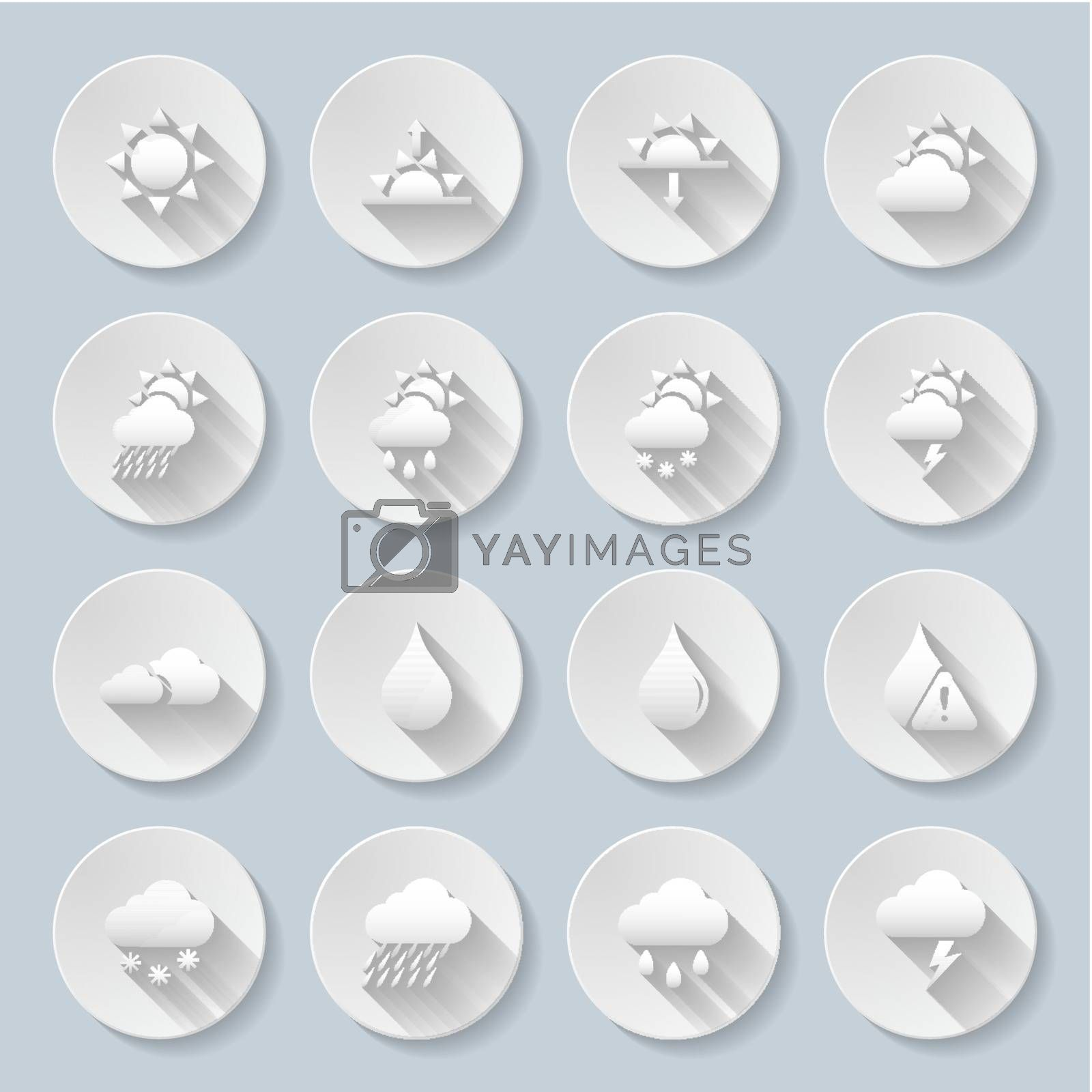 Weather Icon Set with sun,clouds,rain and snow using to describe a weather