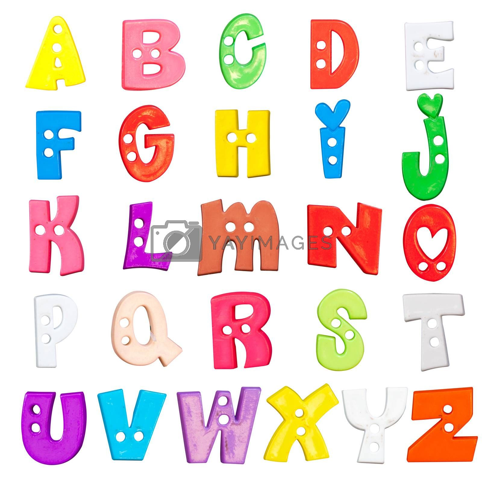 Alphabet baby plastic letters set on a white background
